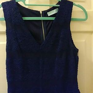 Blue lace v neck dress